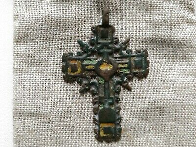Antique Orthodox Cross of the 17-18th Century Old Believers ornate bronze cross