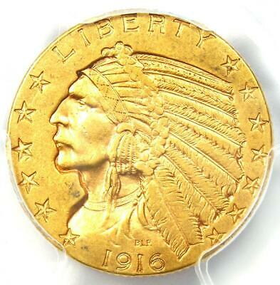 "1916-S Indian Gold Half Eagle $5 Coin - Certified PCGS AU50 - Rare ""S"" Mint!"