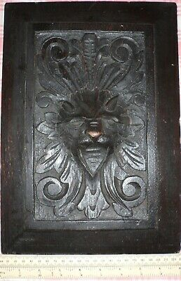 Antique oak panel with carved lions head late 19th early 20th centuries?