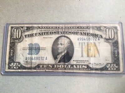 1934 A US $10 Silver Certificate War Time Currency North Africa Note Yellow Seal