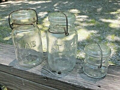 2 VINTAGE ATLAS EZ SEAL CLEAR GLASS WIRE LOCK JARS WITH GLASS LID plus 3rd jar