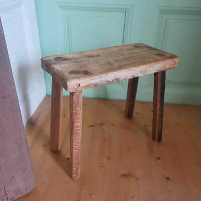 Vintage Primitive Hand Made Rustic Milking Stools or Bedside Occasional Tables
