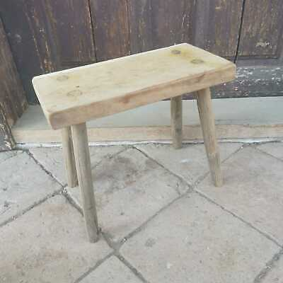 Primitive Hand Made Vintage Milking Stool or Bedside Occasional Rustic Table