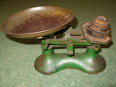 Vintage antique metal kitchen scales scale weights heavy green
