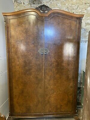 Gold Feather Walnut Two Door Wardrobe Antique Shabby Chic Vintage Project
