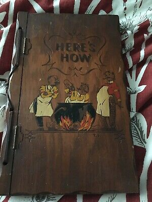 1941 Vintage Here's How Mixed Drinks Cocktail Book! Wood Cover