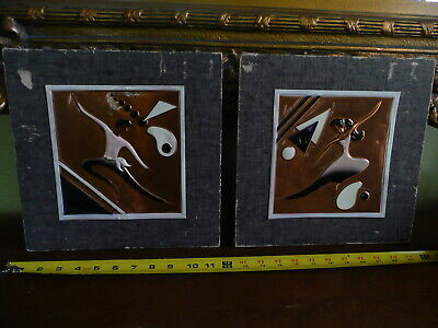 Vtg Pair Wanda Irwin Original Art Tooled Copper Dancers Modern Mid-Century Vibe.