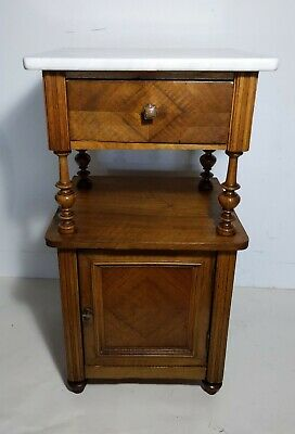 Antique French Bedside Wood, Marble Top Cabinet/Table/Shelf Nightstand Art Deco