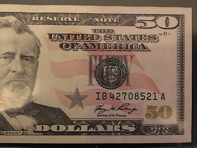 50.00 Dollar Bill Note Error Misaligned & Over Inked Obverse Free Shipping Ebux