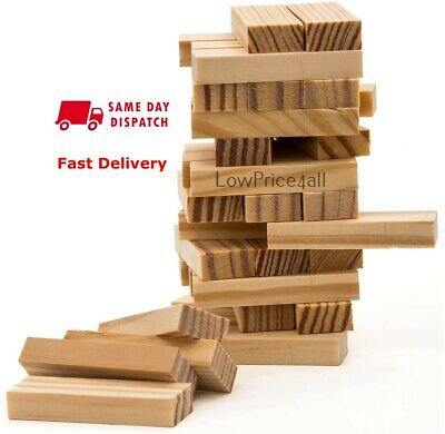 48  Pieces Wooden Tumbling Tower Traditional Stack Jenga Kids Family Party Game