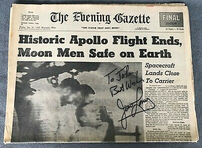 James JIM LOVELL Astronaut Signed Autographed Newspaper Apollo 8 December 1968