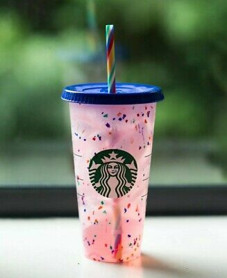 Starbucks Rainbow Confetti Color Changing Tumbler Cup Straw Pride Summer 2020