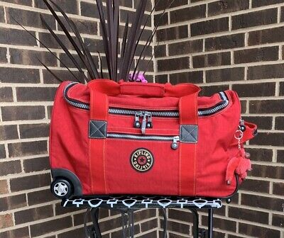 """Kipling Madison 22"""" Wheeled Duffle Bag Carry On Luggage Red Mint Condition"""