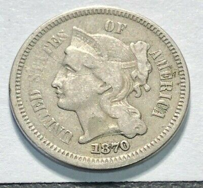 1870  3c Nickel Three Cent Piece - Filler Coin  - FREE SHIPPING !!!