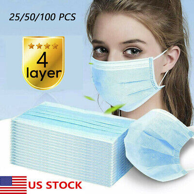 Lot of 4 Layer Face Mask Mouth & Nose Protector Respirator Masks with Filter