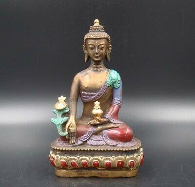 Collectible 100% Handmade carving Painting Gild Copper Buddha India Statue