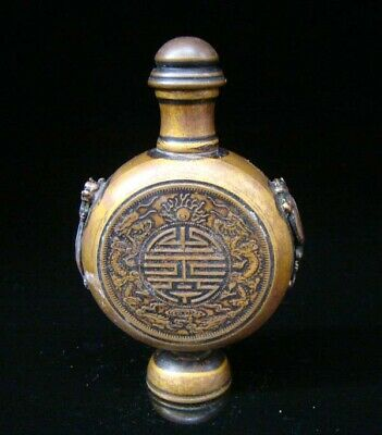 Collectible Handmade Carving Statue Copper Brass Snuff Bottles Dragon