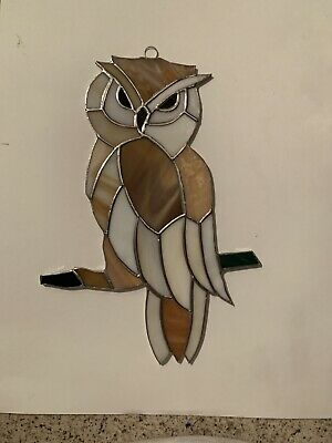 """OWL bird (Large )-Stained Glass - Handcrafted-Sun Catcher - 10""""x5"""" Inches"""