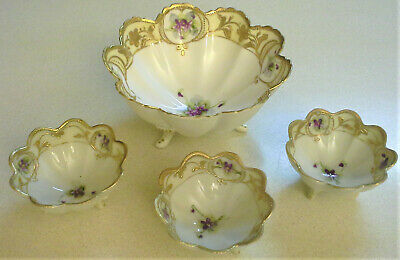 Hand Painted Porcelain Nippon 4 pc Gilt Footed Nut/Sauce Bowl Set Gold Scalloped