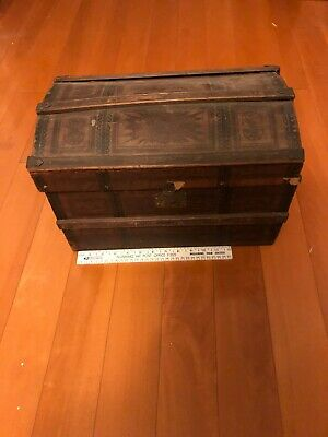 "Victorian Child Doll Dome Top Steamer Trunk 9""x11""x16"""