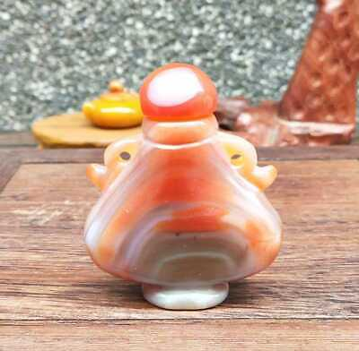 Natural Agate Jade Hand-Carved Statue Snuff Bottles Exquisite 002