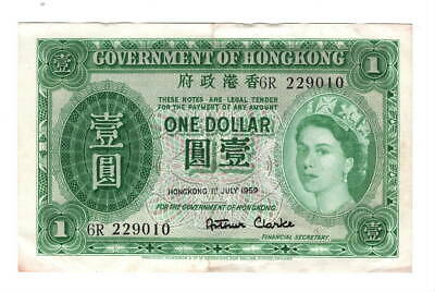 HONG KONG $1 Dollar (1959) P-324Ab aVF Banknote Queen Elizabeth II Paper Money