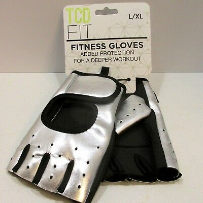 Womens Fitness Gloves Half Finger Exercise Training Sports Sz L XL Vegan Leather