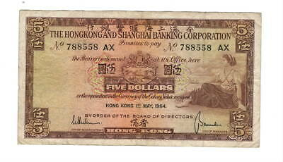 HONG KONG HSBC $5 Dollars (1964) P-181c VF Banknote Paper Money
