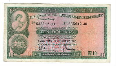 HONG KONG HSBC $10 Dollars (1965) P-182e VF Banknote Paper Money
