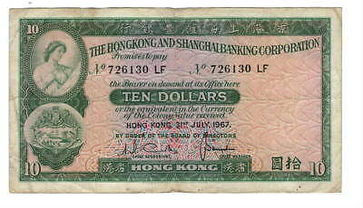 HONG KONG HSBC $10 Dollars (1967) P-182e VF Banknote Paper Money