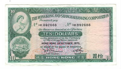 HONG KONG HSBC $10 Dollars (1973) P-182g VF Banknote Paper Money