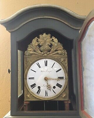 Early 19C Painted French Louis XVI Long Case Clock