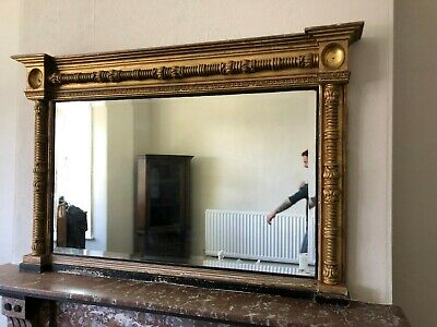 Beautiful Overmantle mirror Empire Gold gilt and ebonised Decorative