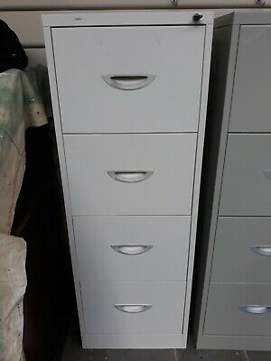 4 Drawer White Metal Filing Cabinet Lockable
