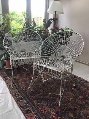 Stunning pair antique wire-work chairs for garden room or conservatory.