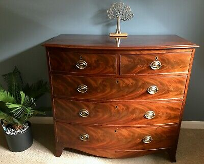 Bow Fronted Flame Mahogany Chest of DrawersGeorge III circa 1800