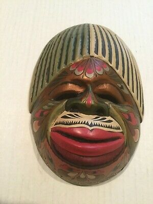 """AFRICAN? Carved Wood MASK FUNNY FACE 5-1/2"""" X 8"""""""