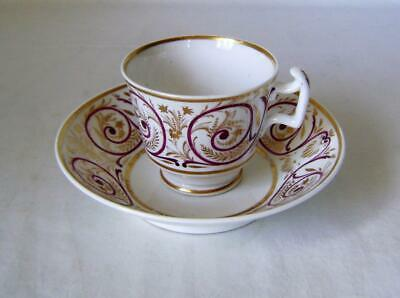 London Shape Porcelain Cup & Saucer Decorated in Puce & Gold Pattern 241 A/F