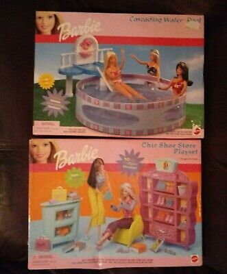 Lot Of Two Barbie Playsets Cascading Water Pool & Chic Shoe Store NEW