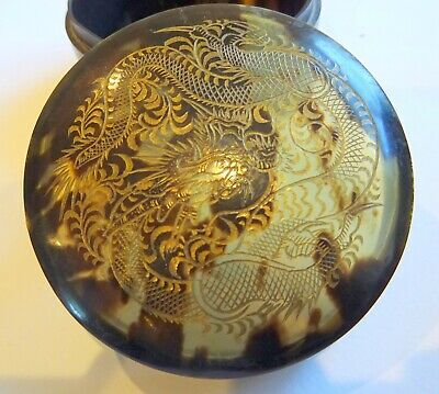 Antique Japanese Carved F Tortoishell 3 footed Dragon Box