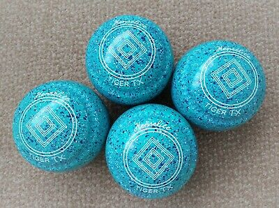 """New Henselite Tiger TX lawn bowls size 2 WB2029 """"Marine"""" speckle with Mega grips"""