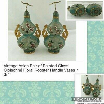 """Vintage Asian Pair of Painted Glass Cloisonné Floral Rooster Handle Vases 7 3/4"""""""