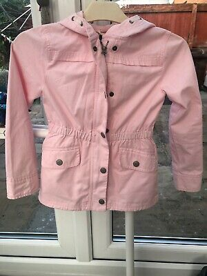 Girls Pale Pink Cotton Summer Hooded Jacket From Gap Kids, Size 8-9 Years