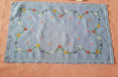 DEEP blue vintage linen Irish embroidered floral tray cloth