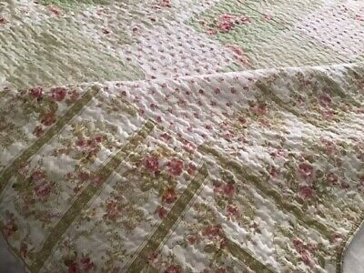 """Genuine Vintage French Quilt.  Pinks And Greens.  Approx. 50"""" X 50"""""""