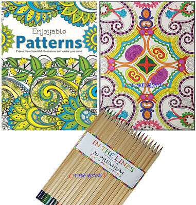 Anti-Stress Adult Therapy Colouring Book Relax Mind Patterns+ 20 Premium Pencils