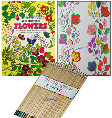 Anti-Stress Adult Therapy Colouring Book Relax Mind Flowers + 20 Premium Pencils