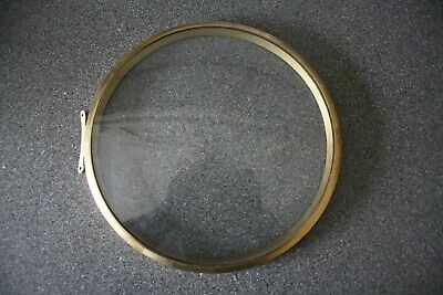 """Vintage 6"""" Smiths hinged striking clock brass bezel/glass, for parts/spares"""