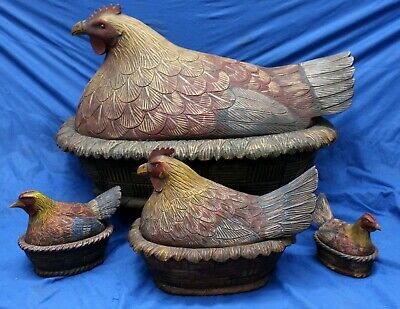 Set (4) Hand Carved Wooden CHICKEN Covered Bowls FOLK ART Fitted Lids Antique
