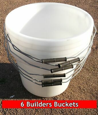 6 White Builders Buckets 3 gallon 15 litre strong plastic heavy duty UK made NEW